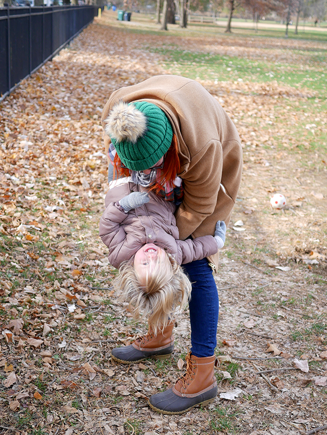 What to wear for playing in the park in the winter with a toddler