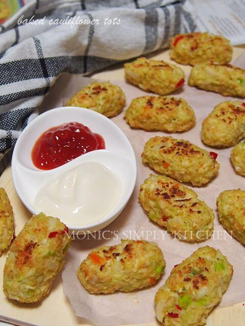 resep baked cauliflower tots