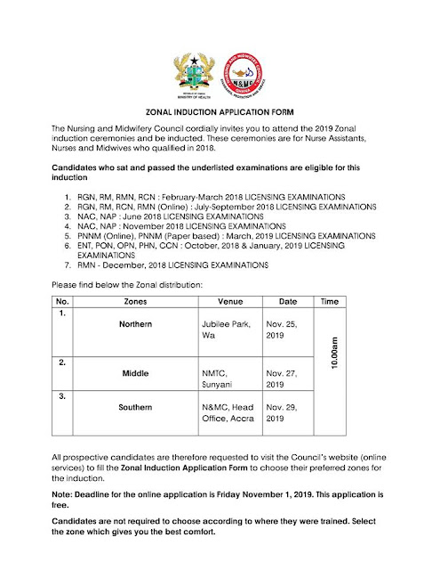 2019 NMC Ghana Induction Ceremony Time-Table [Nurses & Midwives]