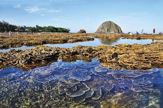 Dịch vụ du lịch Phú Yên - Bãi san hô nửa chìm nửa nổi trong làn nước trong vắt, phía xa là Hòn Yến và Hòn Đụn