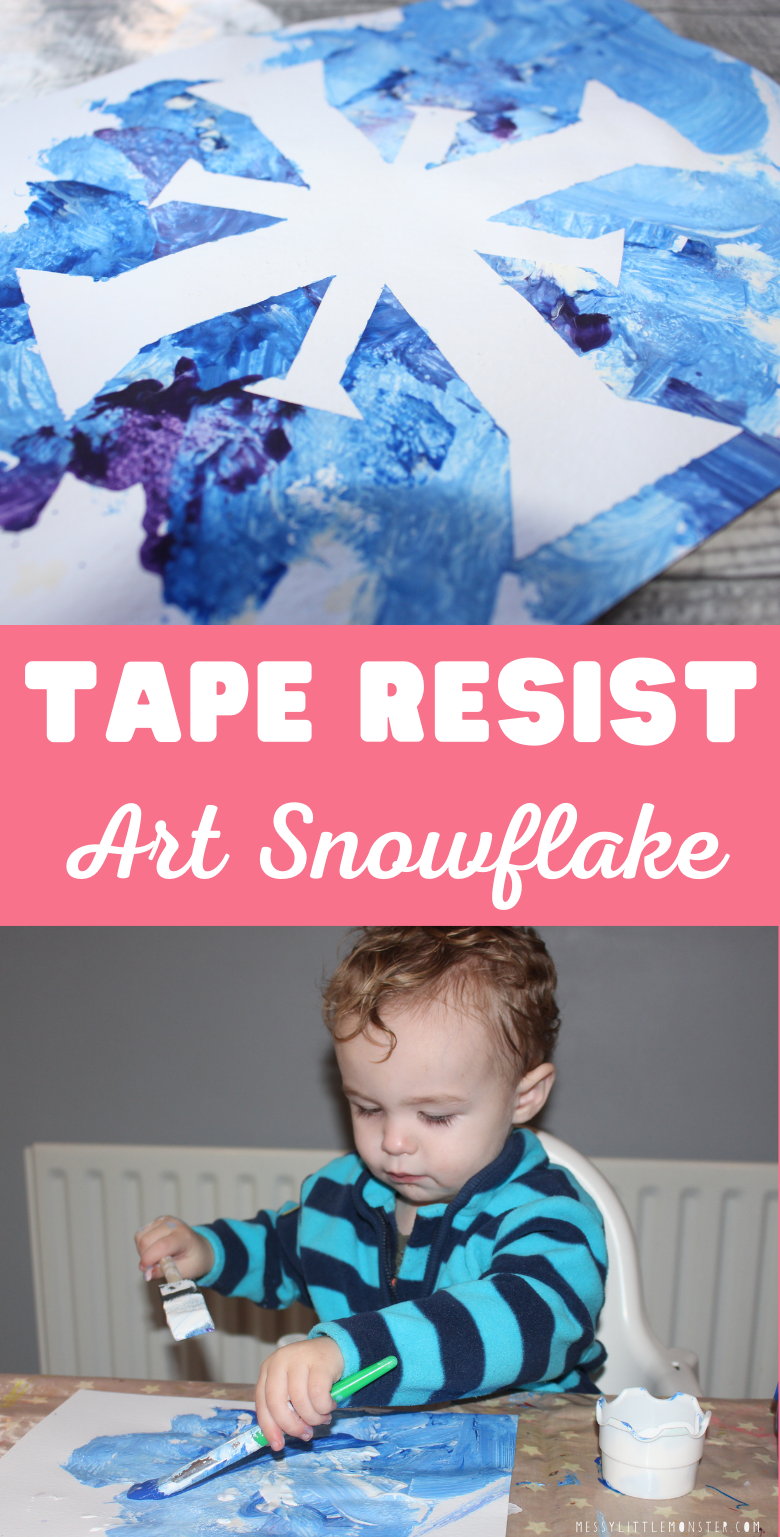 Tape resist art. Snowflake art for toddlers and preschoolers. Winter craft.