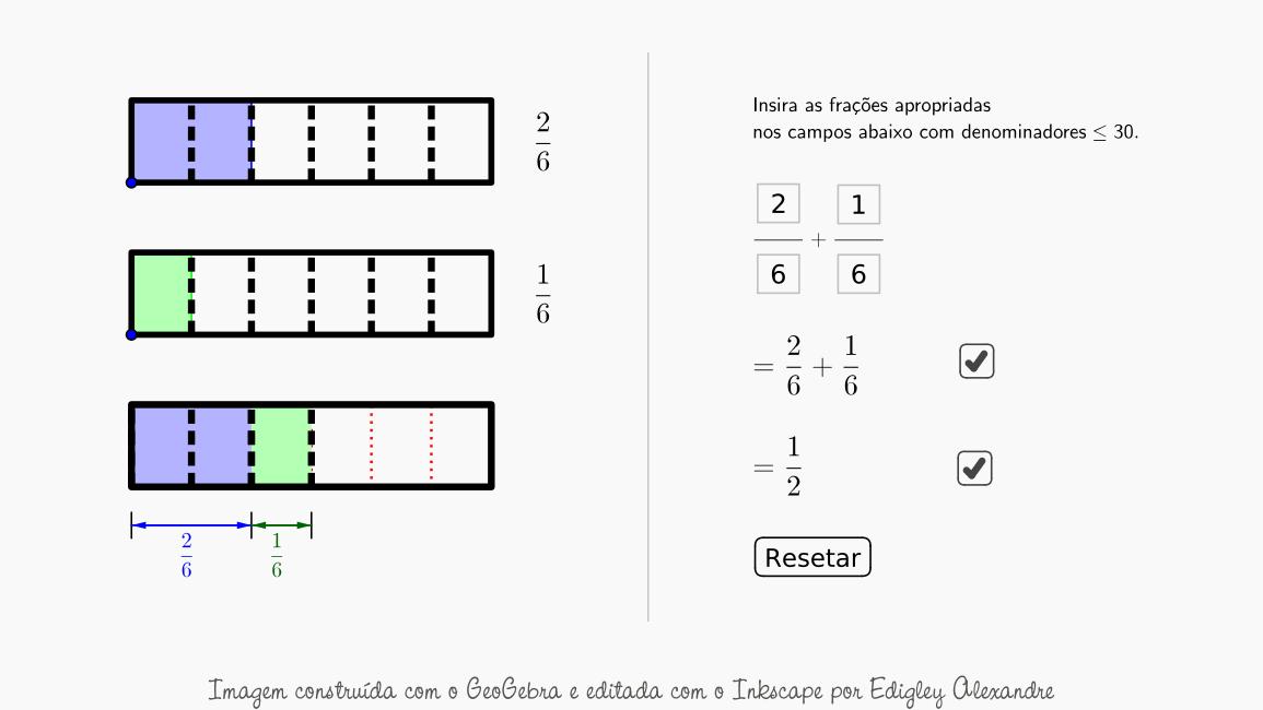 Visualize adições de frações utilizando o GeoGebra