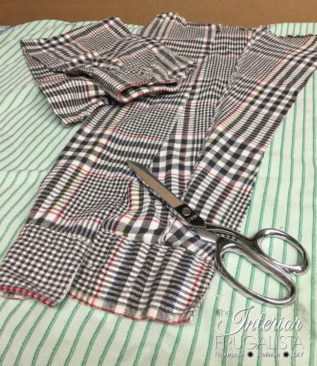 Flannel Shirt Fall Wreath Cutting Sleeves
