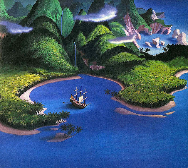 Disney, a sailing ship anchored in an island lagoon, seen from above in a birds-eye view