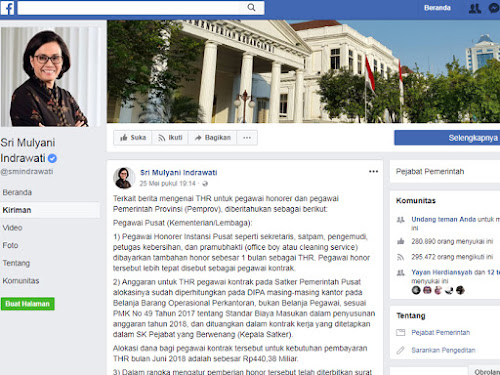 Facebook Menteri Keuangan Sri Mulyani