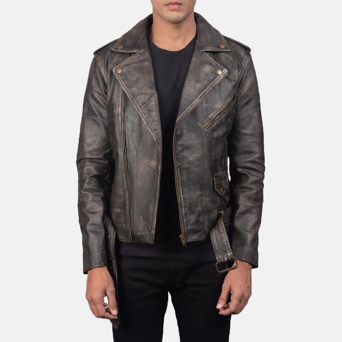 Allaric Alley Distressed Brown Leather Biker Jacket