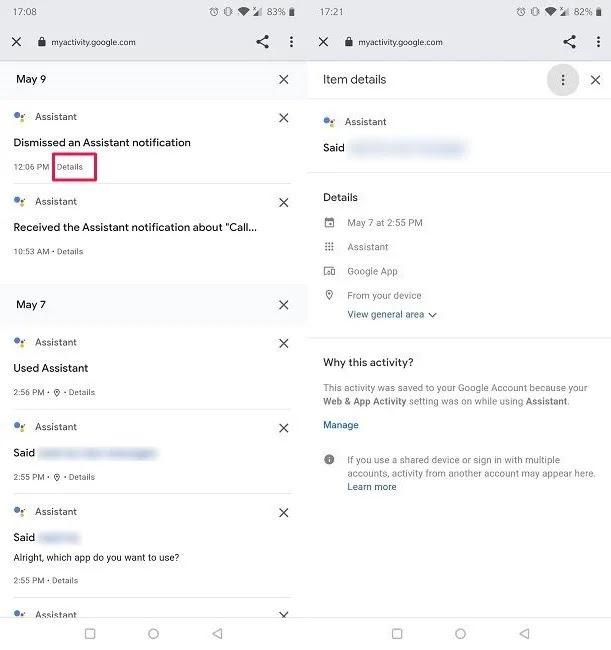 محو تفاصيل عنصر أوامر Googgle Assistant الصوتية