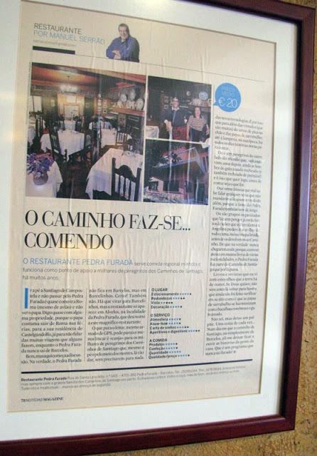 pagina de joranal sobre um restaurante no Caminho de Santiago
