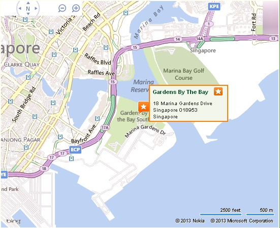 Gardens By The Bay Singapore Location Map,Location Map Of Gardens By The Bay  Singapore