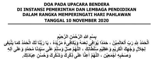Doa Upacara Peringatan Hari Pahlawan Tahun 2020 Secara Agama Islam