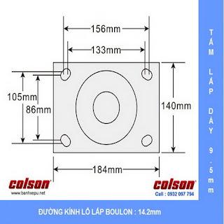 Bảng vẽ kích thước tấm lắp bánh xe đẩy hàng nhựa PU chịu tải 1,575kg | 7-12679-979BRK1