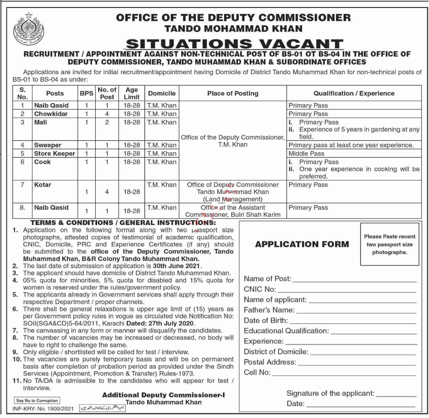 Latest Deputy Commissioner District Office Human Resource Posts Tando Muhammad Khan 2021
