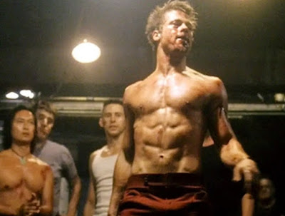 "Brad Pitt in cult film ""Fight Club"""