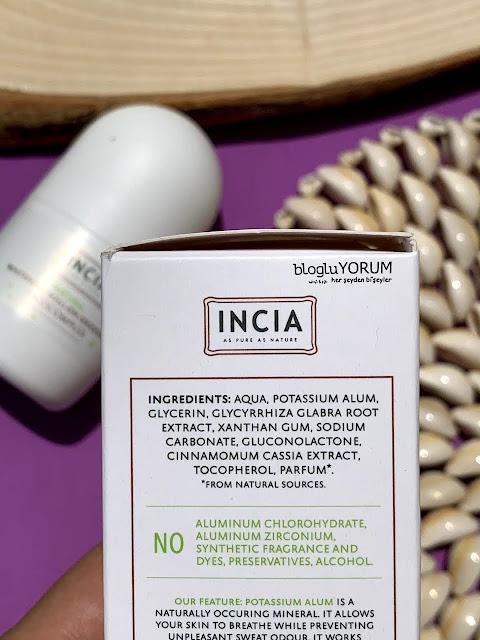 INCIA Doğal Beyazlatıcı Roll-On Deodorant içerik