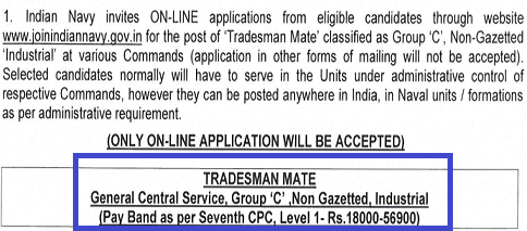 Indian Navy Tradesman Salary 2021 Pay Scale