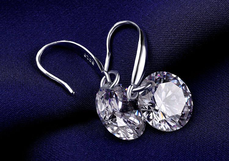 閃耀單鑽鋯石 925純銀耳環