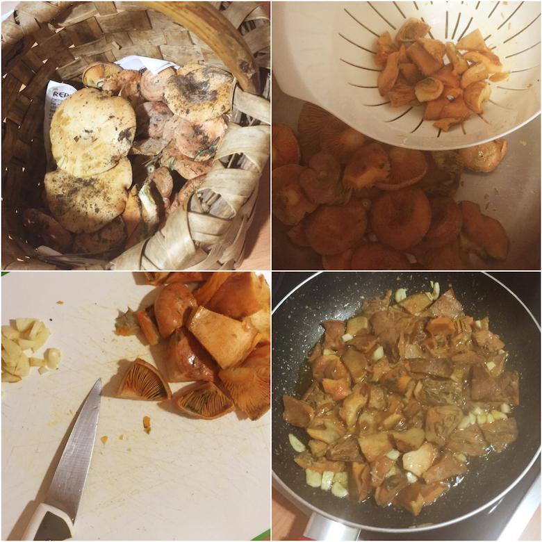 Receta níscalos con huevos y patatas fritas