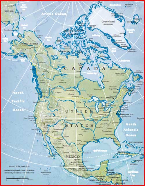 Gambar Peta politik Amerika Utara