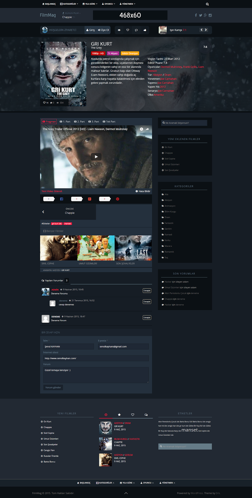 Wordpress FilmMag Responsive Film Teması İndir