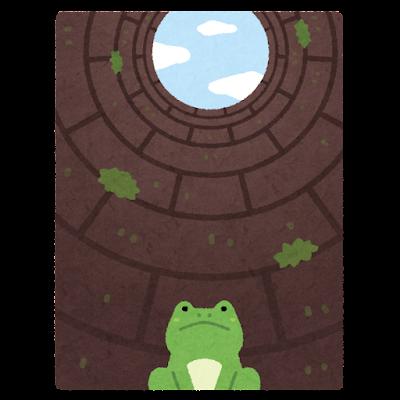 「井の中の蛙大海を知らず」のイラスト