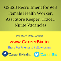 GSSSB Recruitment for 948 Female Health Worker, Asst Store Keeper, Tracer, Nurse Vacancies