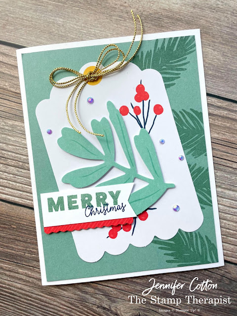 Stampin' Up!'s Love, Santa Tag Kit used to make this card!  Add the Soft Succulent ink pad and Simply Elegant Trim (plus cardstock)!  #StampinUp #StampTherapist #LoveSanta