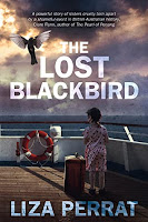 The cover of The Lost Blackbird by Liza Perrat, featuring a little girl on a boat deck facing the sea and cloudy sky with a bird flying up.