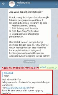telegram anda blm terdaftar, registrasi dengan cara ketik