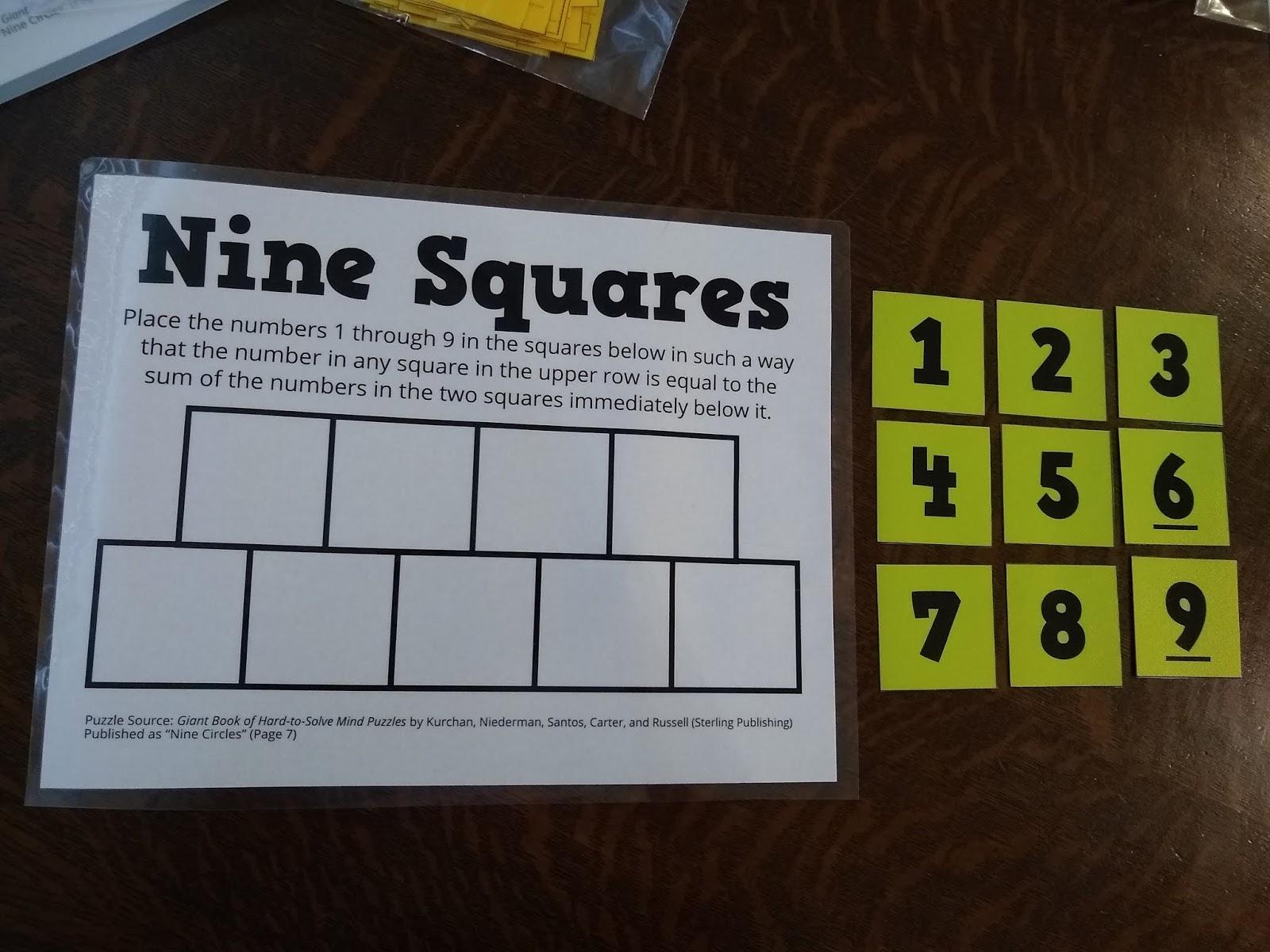 Math Love Nine Squares Puzzle