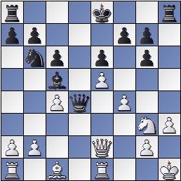 Partida de ajedrez Petrosian vs. Kasparian (posición después de 17... Dd4)