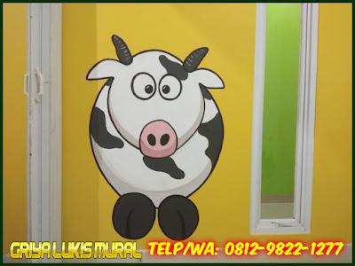 Lukis tembok gambar kartun sapi