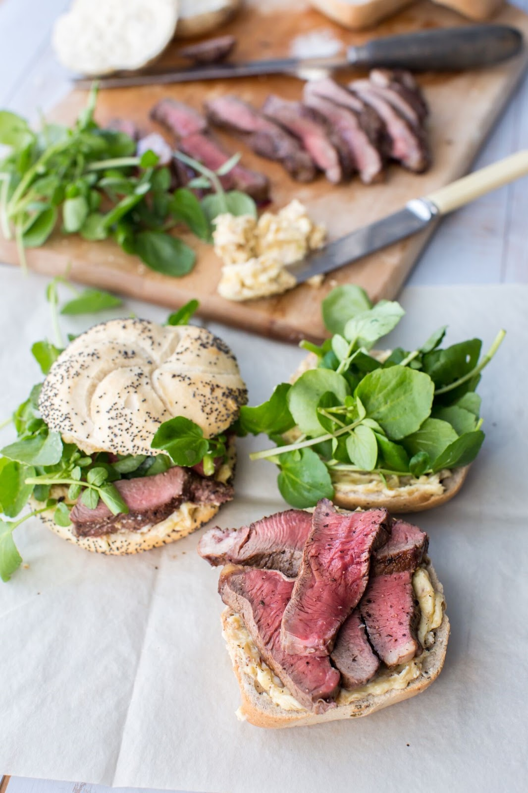 Peppered Beef And Watercress Rolls With Caramelised Shallot Butter