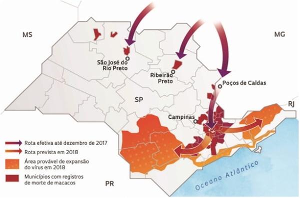 Com base nas informações e no mapa, o corredor ecológico funcional desse vírus, que atingiu a maior abrangência territorial no Estado de São Paulo durante o ano de 2017, avançou principalmente por quais regiões e causou qual enfermidade?