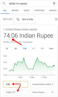 How to convert dollar to rupees