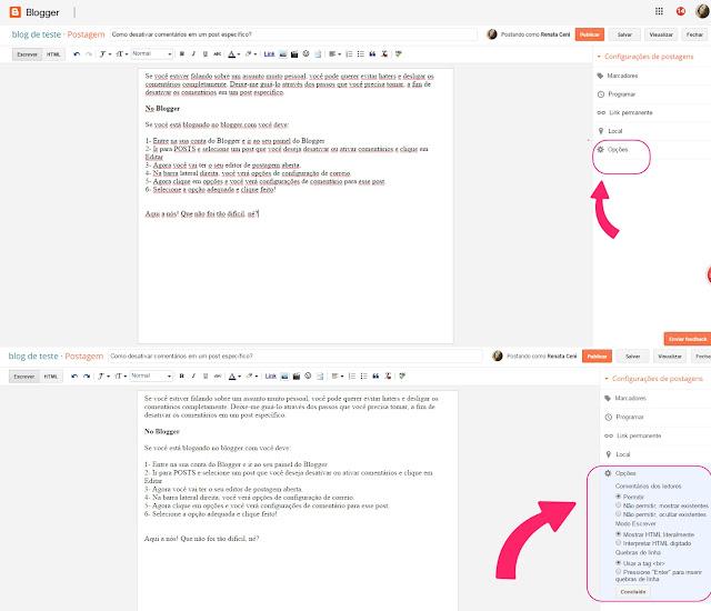 Como desativar comentários em um post específico no blogger?