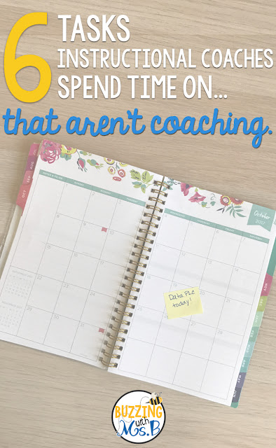 Wondering what instructional coaches do all day? Whether you're a teacher thinking about becoming a coach, or a coach who's trying to build your schedule, it's important to know these six tasks that coaches spend time on...that aren't even coaching! Modeling, coteaching, and supporting teachers in the classroom should be the #1 priority, but so many coaches have to spend their time on data, school events, and so many other things. Read the post to learn all six!