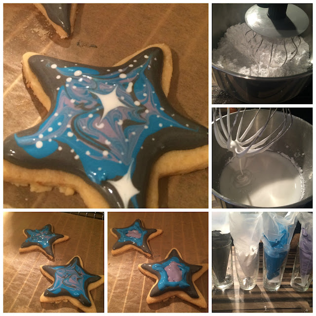 Photos of the steps for icing the galaxy biscuits