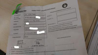 Form kehilangan barang di KRL