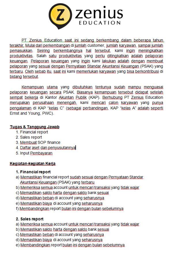 Lowongan Kerja PT. Zenius Education Februari 2017