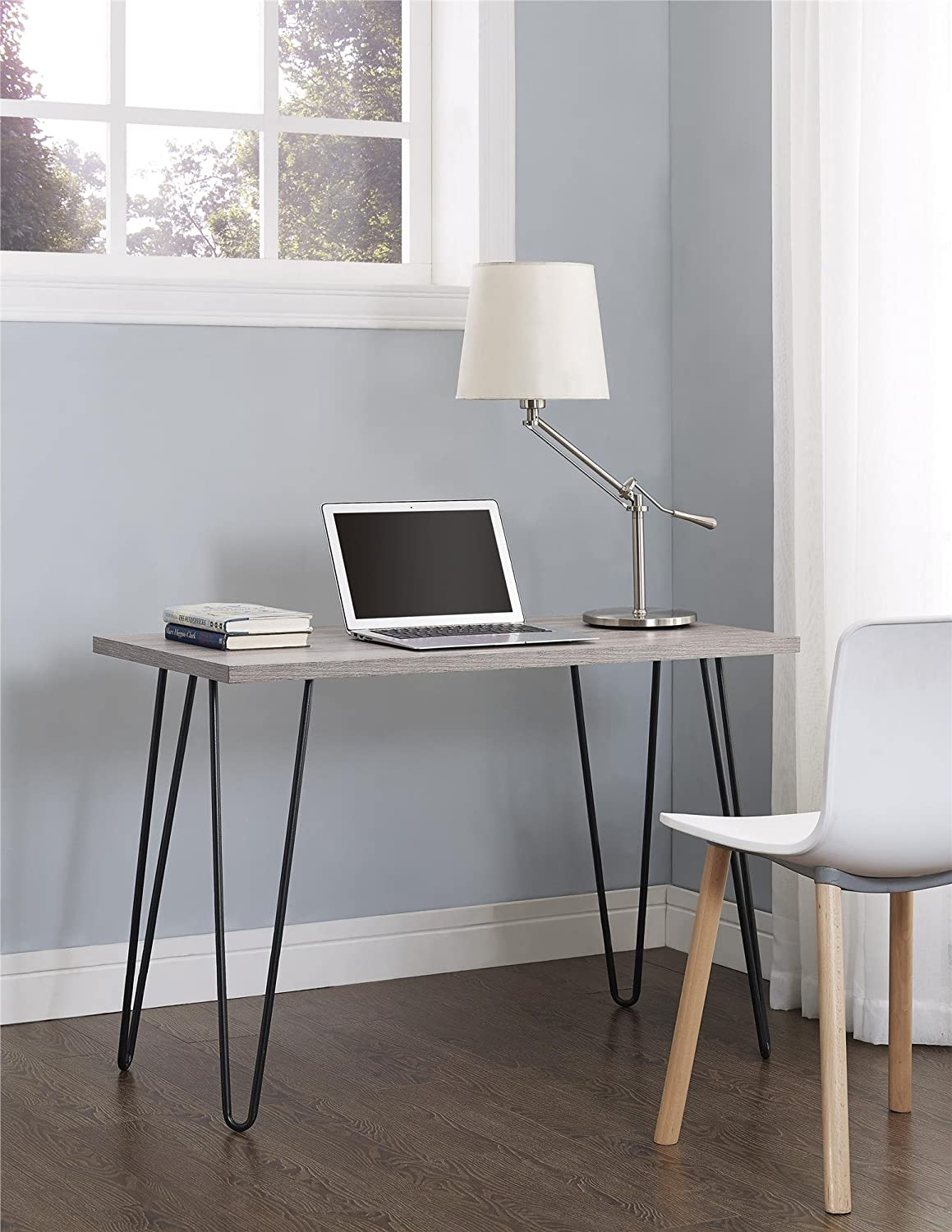 desk with hair pin legs