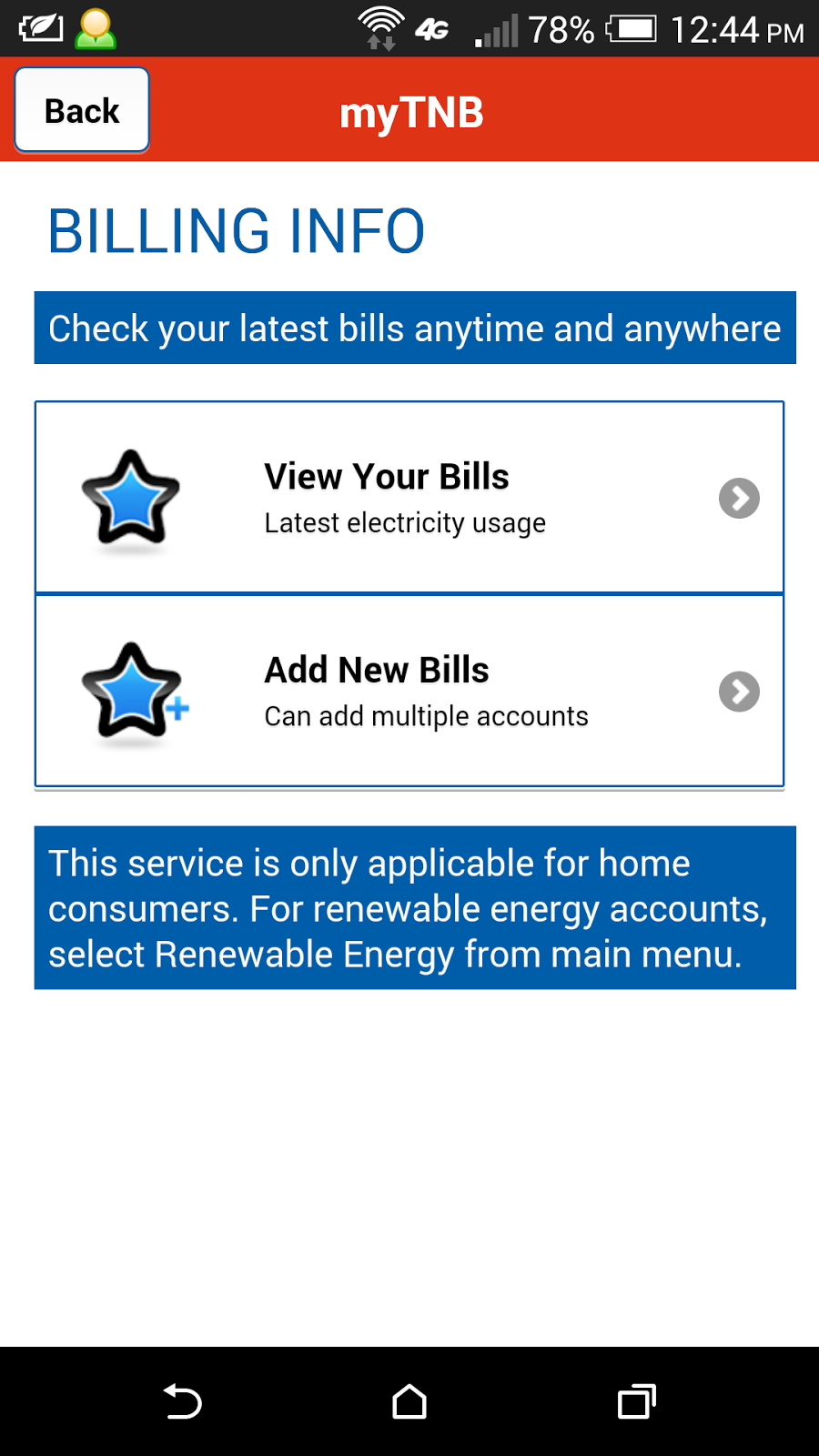 Check TNB electricity bill payment status with myTNB app for Android