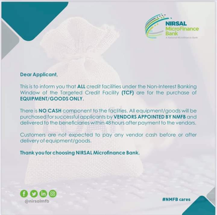 Good News To All Nirsal Applicants: NO CASH component to the facilities - NIRSAL Microfinance Bank