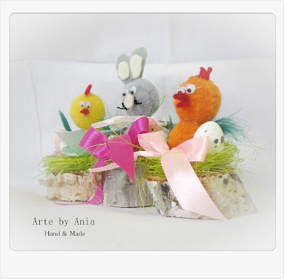 Wielkanocne zwierzaki z pomponów.