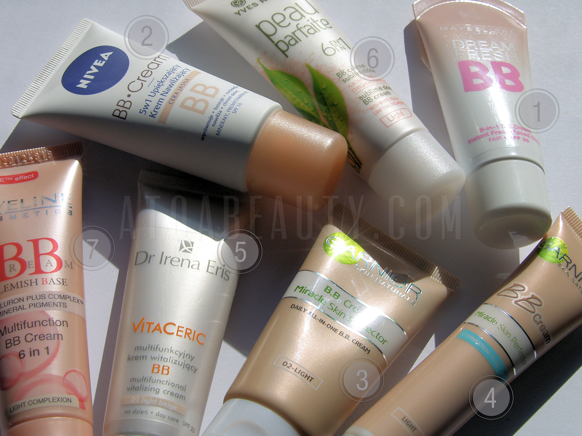 Maybelline, Dream Fresh 8-in-1 BB Cream :: Nivea, BB Cream, 5 w 1 Upiększający krem nawilżający :: Garnier, B.B. Cream Miracle Skin Perfector :: Garnier BB Cream Miracle Skin Perfector Combination to Oily Skin :: Dr Irena Eris, VitaCeris Multifunkcyjny krem witalizujący BB :: Yves Rocher, Peau Parfaite 6 in 1 Sublime Skin BB Cream :: Eveline Cosmetics, Multifunction BB Cream 6 in 1