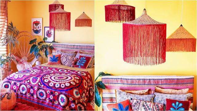 DIY Boho Φωτιστικά από ψάθινα καπέλα
