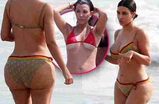 Kim Kardashian and Kourtney Kardashian bikini body