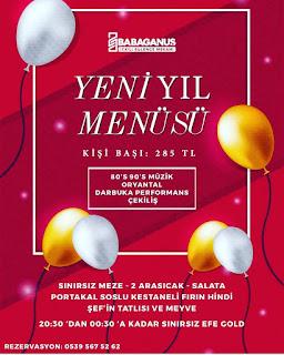 Babaganuş Alsancak İzmir Yılbaşı Programı 2020 Menüsü