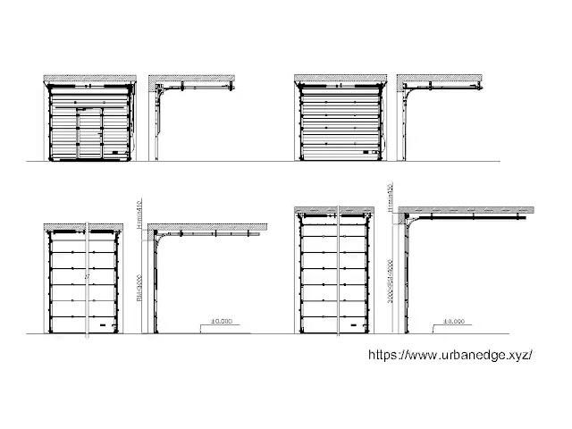 Overhead door detail cad blocks download - Elevation and Section Dwg Blocks