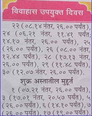 Marathi Shubh Vivah and Shadi Muhurat in April 2021