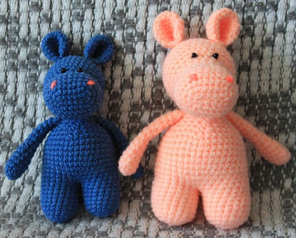Вязаные игрушки бегемоты крючком